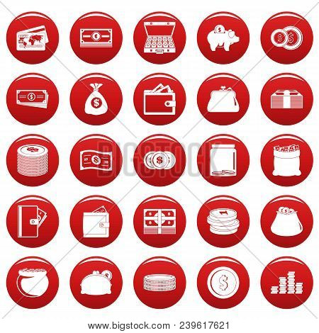Money Icons Set. Simple Illustration Of 25 Money Vector Icons Red Isolated