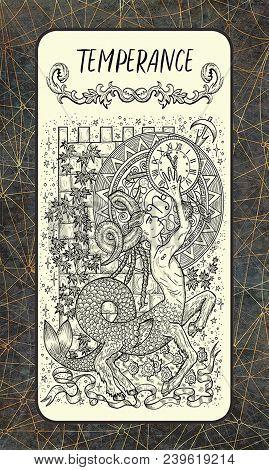 Temperance. Major Arcana Tarot Card. The Magic Gate Deck. Fantasy Engraved Illustration With Occult