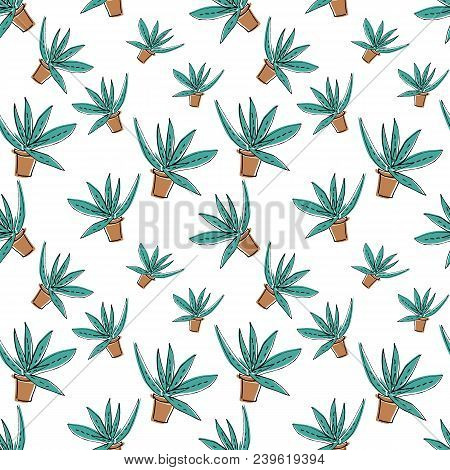 Sketch Doodle Home Green Aloe In Brown Pot, Seamless Pattern Isolated On White Background, Flat Cart