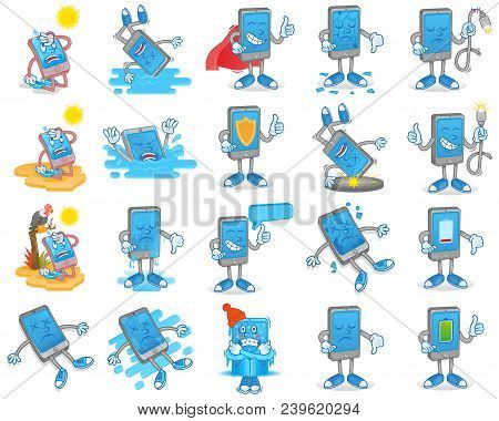 Big Set Icon With Different Smartphone Gadget Tablet Mobile Problem And Situation   Happened With Ph