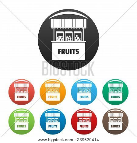 Fruits Selling Icon. Simple Illustration Of Fruits Selling Vector Icons Set Color Isolated On White