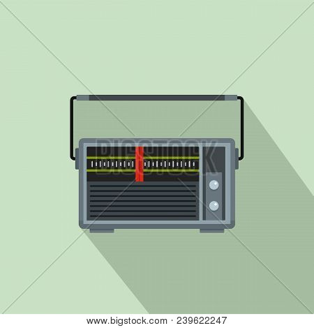 Red Line Radio Icon. Flat Illustration Of Red Line Radio Vector Icon For Web Design