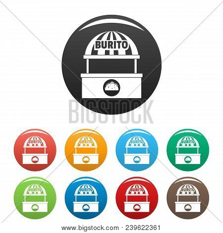 Burito Selling Icon. Simple Illustration Of Burito Selling Vector Icons Set Color Isolated On White