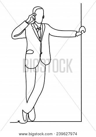 Manager Or Businessman Talking On A Cellphone. Business Concept Illustration. Continuous Line Drawin
