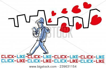 Social Media And Love.  Walking Man Looking For New Girlfriend. Love And Romance, Social Media In Th