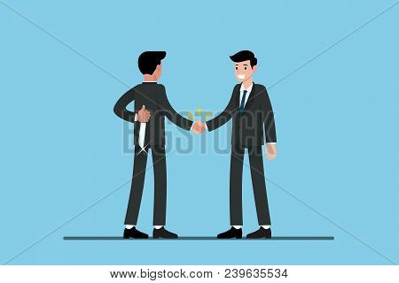 Two Businessmen Standing And Shake Hands Each Other For Cooperation And Make A Deal. But The First O