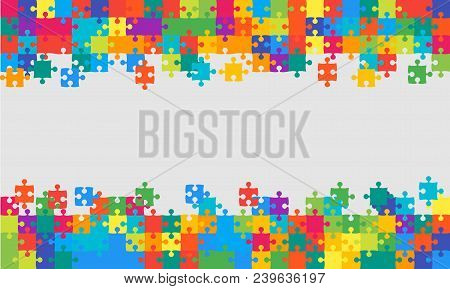 Colorful Background Puzzle. Jigsaw Puzzle Banner. Vector Illustration Template Shape. Abstract Puzzl