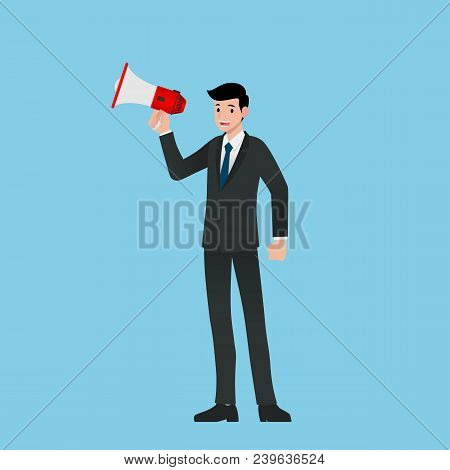 Businessman In Suit Stand And Holding Or Using Megaphone, Loudspeaker To Shout For Spread The Words,