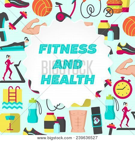 Fitness And Health Flat Poster With Icons Of Healthy Lifestyle Diet Food Weight Loss Daily Workouts