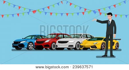 A Happy Businessman, Salesman Is Standing And Present  His Vehicles And Super Car For Sell Or Rent T