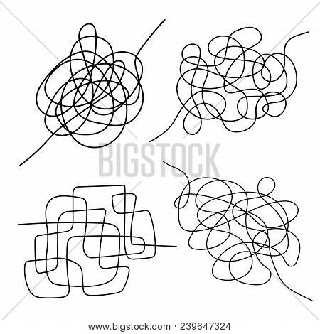Set Of Hand Drawn Tangle Scrawl Sketch. Black Line Abstract Scribble Shape. Vector Tangled Chaotic D