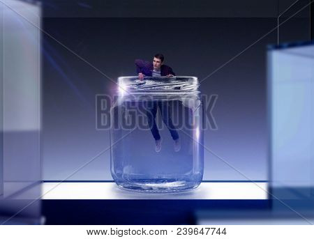 Fear of loneliness, man trying to get out of glass