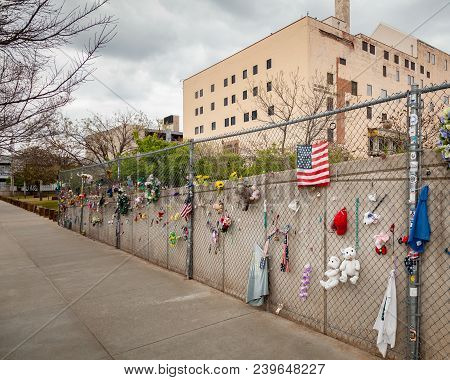 Oklahoma City, Oklahoma / Usa - March 31, 2018: Closeup And Detail Of Memorial Items Left On Fence O