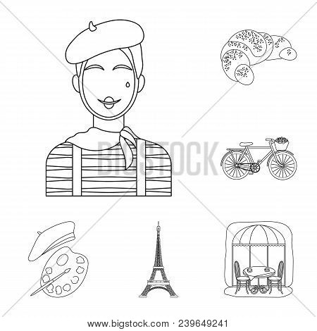 Country France Outline Icons In Set Collection For Design. France And Landmark Vector Symbol Stock