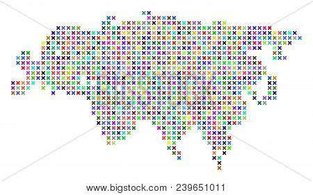 Eurasia Map. Vector Composition Of Geographic Plan. Regular Pattern Is Designed With X-cross Pixels
