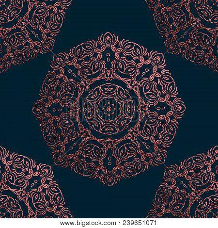 Pink Decorative Mandala. Rose Quartz Vintage, Ethnic Element. Oriental Pattern, Vector Illustration