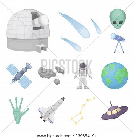 Space Technology Cartoon Icons In Set Collection For Design.spacecraft And Equipment Vector Symbol S