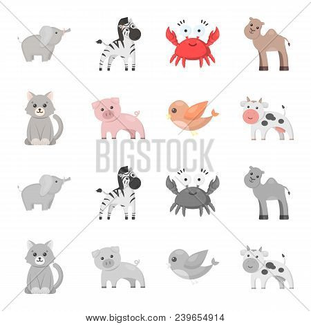 An Unrealistic Cartoon, Monochrome Animal Icons In Set Collection For Design. Toy Animals Vector Sym