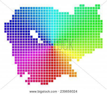 Spectrum Cambodia Map. Vector Dot Geographic Plan In Bright Spectrum Colors With Circular Gradient.