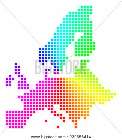 Spectral European Union Map. Vector Dotted Geographic Plan In Bright Rainbow Colors With Circular Gr