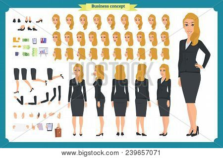 Set Of Businesswoman Character Design.front, Side, Back View Animated Character.business Girl Charac