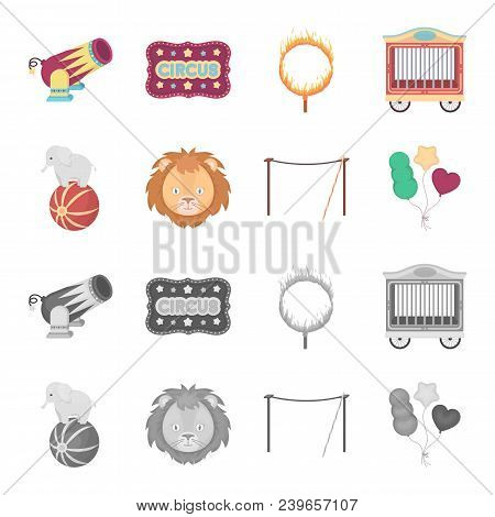 Elephant On The Ball, Circus Lion, Crossbeam, Balls.circus Set Collection Icons In Cartoon, Monochro