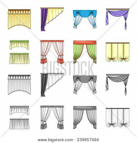Different Types Of Window Curtains.curtains Set Collection Icons In Cartoon, Monochrome Style Vector