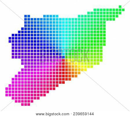 Rainbow Syria Map. Vector Dotted Geographic Plan In Bright Rainbow Colors With Circular Gradient. Co