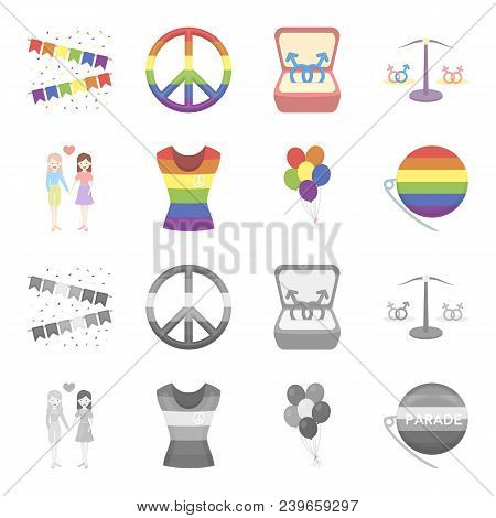 Lesbians, Dress, Balls, Gay Parade. Gay Set Collection Icons In Cartoon, Monochrome Style Vector Sym