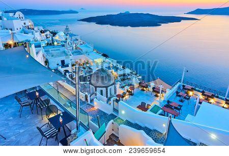 Evening in Santorini - Thira town and Aegean sea at sundown, Greece - Landscape
