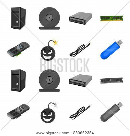 Video Card, Virus, Flash Drive, Cable. Personal Computer Set Collection Icons In Cartoon, Monochrome