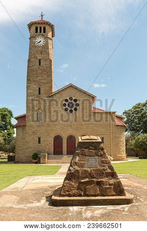Ladysmith, South Africa - March 21, 2018: The Historic Sandstone Dutch Reformed Church, With Monumen