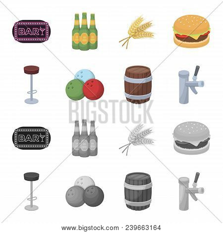 Restaurant, Cafe, Chair, Bowling Ball .pub Set Collection Icons In Cartoon, Monochrome Style Vector