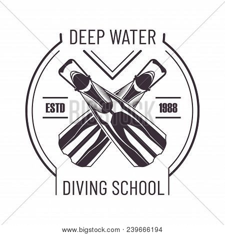 Deep Water Diving School Monochrome Promo Logo. Crossed Flippers To Dive Commercial Emblem. Extreme