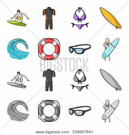 Oncoming Wave, Life Ring, Goggles, Girl Surfing. Surfing Set Collection Icons In Cartoon, Monochrome