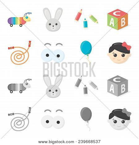 Children Toy Cartoon, Monochrome Icons In Set Collection For Design. Game And Bauble Vector Symbol S
