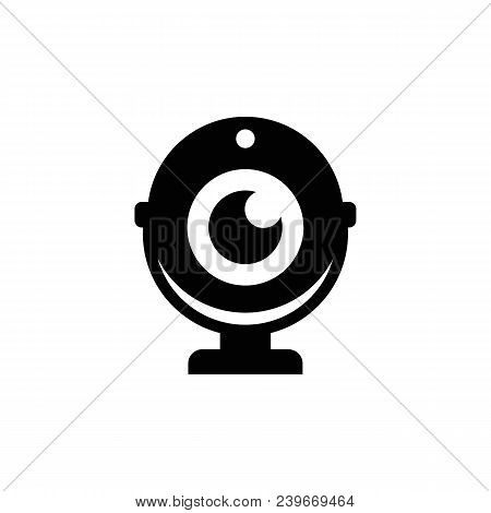 Webcam vector icon. Camera chat symbol. Black simple icon on white background. poster