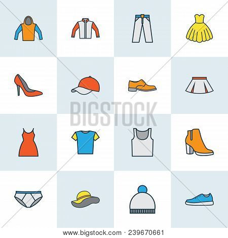 Dress Icons Colored Line Set With Gumshoes, Hoodie, Dress And Other Dress Elements. Isolated Vector
