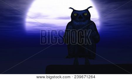 3d Rendering Of An Owl At Night Lit By A Big Moon.