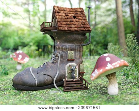 3d Rendering Of A Cute Smiling Cartoon Mouse Standing Outside A Fantasy Shoe House In A Fairytale To