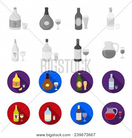 White Wine, Red Wine, Gin, Sangria.alcohol Set Collection Icons In Monochrome, Flat Style Vector Sym