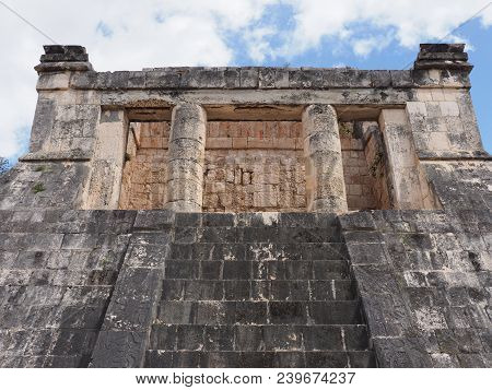 Ancient Wall Ruins Of Great Ball Court Buildings On Chichen Itza City, Mexico, Largest Of Archaeolog