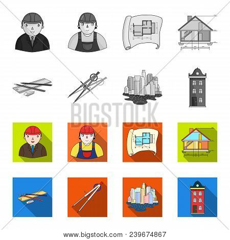 Drawing Accessories, Metropolis, House Model. Architecture Set Collection Icons In Monochrome, Flat