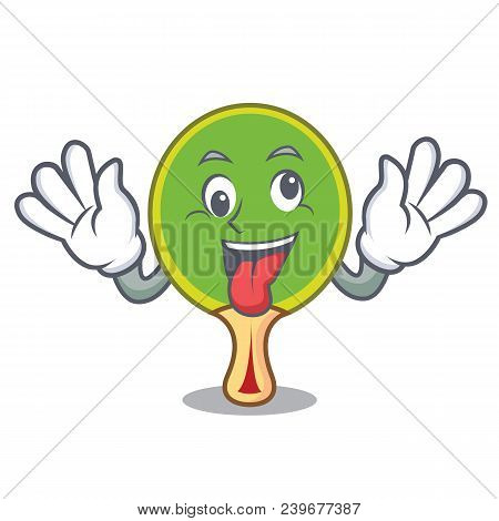 Crazy Ping Pong Racket Mascot Cartoon Vector Illustration