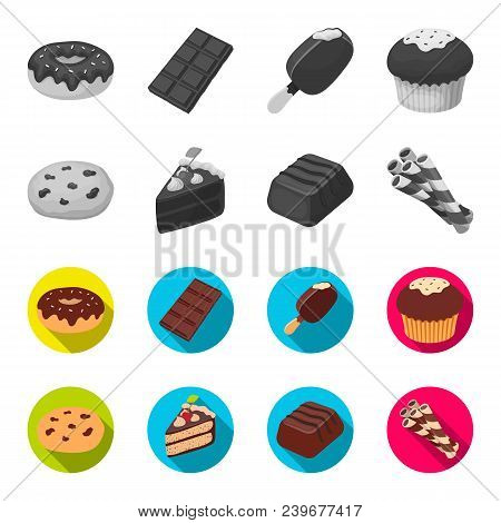 American Cookies, A Piece Of Cake, Candy, Wafer Tubule. Chocolate Desserts Set Collection Icons In M