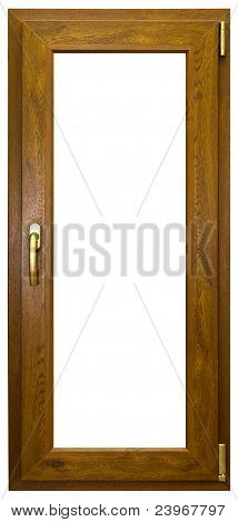 Color laminated tall window with gold handle poster