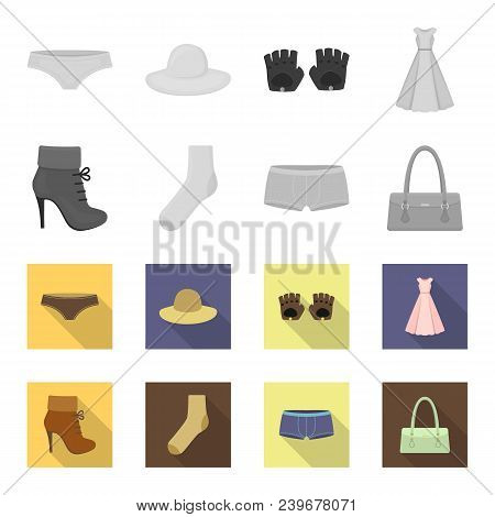Women Boots, Socks, Shorts, Ladies Bag. Clothing Set Collection Icons In Monochrome, Flat Style Vect