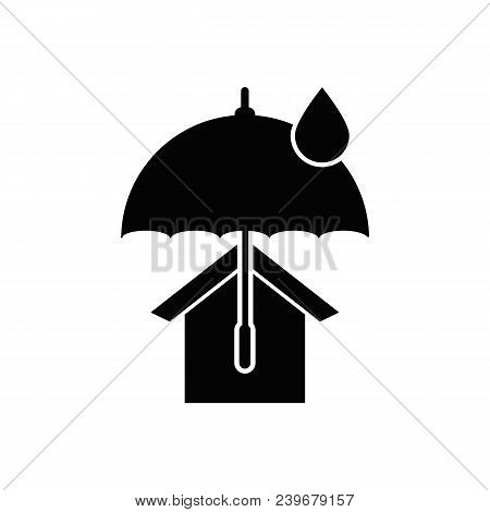 House With Umbrella Vector Icon. Real Estate Symbol.