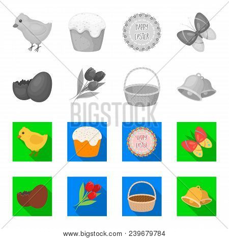 Chocolate Egg, Bells, Basket And Flowers.easter Set Collection Icons In Monochrome, Flat Style Vecto