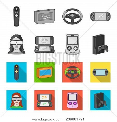 Game Console And Virtual Reality Monochrome, Flat Icons In Set Collection For Design.game Gadgets Ve